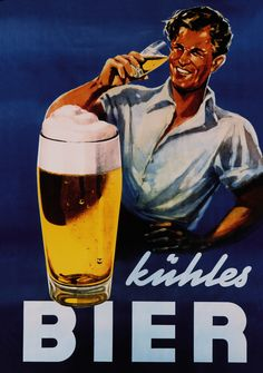 German beer poster 'kühles Bier' showing a worker drinking a glass of beer, sixties, from the archives of the DBB.