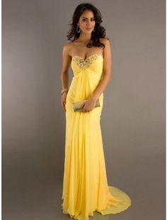 Strapless Beaded Chiffon Long Prom Dresses