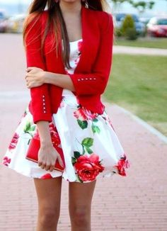 Fabulous Floral Dress Outfit and Red Jacket COmbination Fashion 2015.