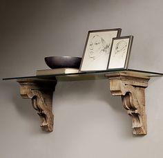 Restoration Hardware corbel shelf. ($149 for beveled glass shelf & $149 for gothic corbel) $338