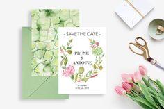 Invitation de mariage Save the Date à imprimer - Invitation de mariage Réservez la date - Mariage floral hortensias aquarelle Mariage DIY