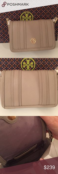 "Tory Burch 'Landon' Mini Bag Gray NEW  Authentic. Tory Burch Landon Mini CrossBody Bag in soft, neutral, French Gray Color and yellow gold tone hardware. Exterior has unique detailing. Interior lined with signature TB fabric ,3 card slots (*please note that interior fabric matches leather exterior and 4th pic lighting shows more like lavender and color of leather true in first pic ) Adjustable 22-24"" strap  Comes with all original packaging Custom bundle only Tory Burch Bags"
