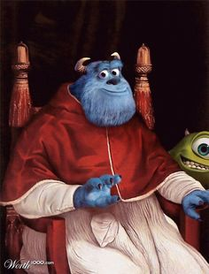 Raphael's Pope Julius with Sully and Mike!