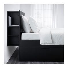 BRIMNES Bed frame with storage & headboard, black, Luröy, Queen. A bed frame with hidden storage in several places – perfect if you live in a small space. The BRIMNES series has several smart solutions that help you save space. Black Headboard, King Headboard, Black Bedding, Storage Bed Queen, Bed Storage, Storage Headboard, Extra Storage, Storage Drawers, Bed Frame With Drawers