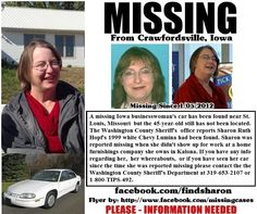 "I thought this might be an effective way to get the word out. This woman is missing and they just found her car in St. Louis earlier today. I know it's not something ""cool"" to look at, but if you are able, please pass this along, the more people that are aware, the better the chances. Thank you!"