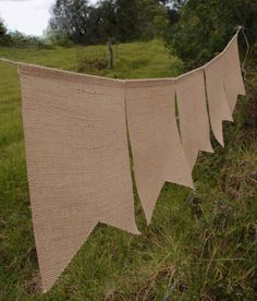 burlap Hessian banners, bunting, wholesale from Harvest Import Inc.