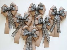 Vintage black cream black check burlap wreath bows