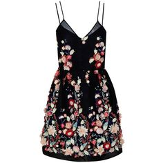 The 2nd Skin Co Mini Embroidered Lace Dress (101,915 DOP) ❤ liked on Polyvore featuring dresses, multi, lace cocktail dress, blossom dress, embroidered mini dress, lacy dress and flower lace dress