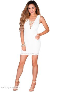 """Christen"" White Sleeveless Plunging Lattice Cut Out Lace Cocktail Dress"