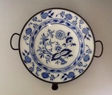 "Antique Meissen ""Blue Onion"" Porcelain Bowl With Pewter Food Warmer.        #115"