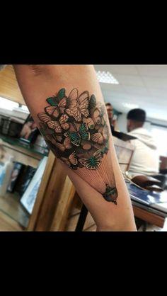 Butterfly air balloon tattoo