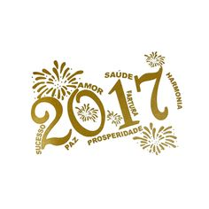 Feliz Ano Novo 2017 - Dourado / Saúde etc./ 10 Unid - Infantil