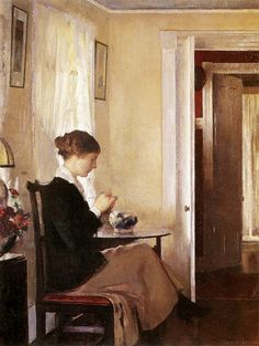 "Edmund Charles Tarbell (1862-1938)  Josephine Knitting  1916 - Oil Painting (20¼"" x 26¼"")"