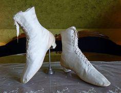 Wedding Cotton Sateen Lace Boots, antique shoes, antique boots, wedding dress, Victorian shoes, ca. 1875