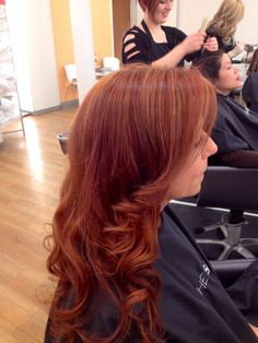 Copper red with apricot highlights. Hair by Marisa. Formula: base 6cc with 6r and 6n color fusion by RedKen. Ends shades Eq cream 6c and highlights shades eq 9g and 8c. Come see me! 342-6655