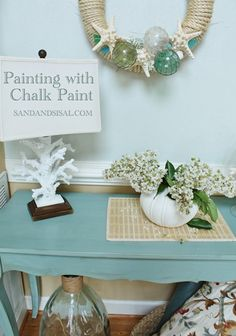 sand and sisal - entry table painted with annie sloan chalk paint- good links regarding anne sloan chalk paint, might want to try for craigslist dresser