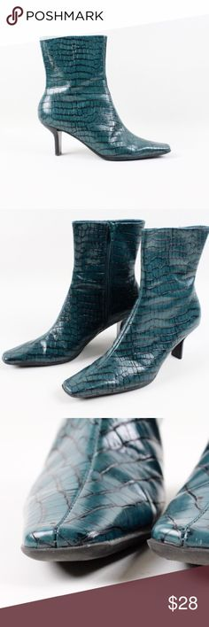 "Nine West Teal Leather Low Calf Low Heel Boots Nine West Leather Boots. Teal with animal pattern. Leather Upper. Zipper Closure. 2.5"" Heel. Size 7. In excellent condition. Pre-loved. Nine West Shoes Heeled Boots"