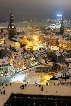 Riga, Latvia at night….