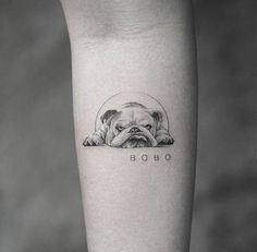 Cute Dog Tattoo Ideas Art And Design Cuded Com - Cute Dog Tattoo Ideas January Ere Leave A Comment Ladies Usually Choose Very Popular Tattoos Of Dog Paws On The Buttocks And Chest The Dog Is The Most Trusted Mans Friend It Tattoo Bulldog, Tatoo Dog, French Bulldog Tattoo, Horse Tattoos, K Tattoo, Tiny Tattoo, Ankle Tattoo, Tattoo Fonts, Temporary Tattoo