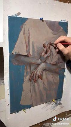 Arte Sketchbook, Art Drawings Sketches Simple, Diy Canvas Art, Aesthetic Art, Art Tutorials, Watercolor Art, Tik Tok, Paintings, Illustration