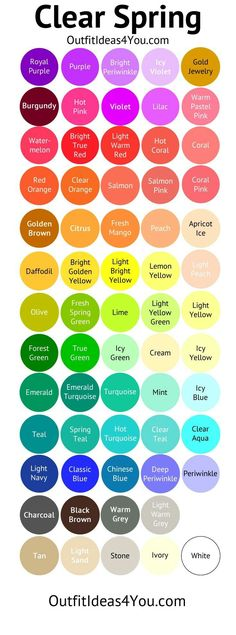 Fashion infographic & data visualisation Bright Warm & Light Color Palette Infographic Description Pure Spring Color Palette (Clear Spring) More – Infographic Source – Spring Color Palette, Colour Pallette, Spring Colors, Color Combos, Light Spring Palette, Color Combinations For Clothes, Bright Spring, Clear Spring, Warm Spring