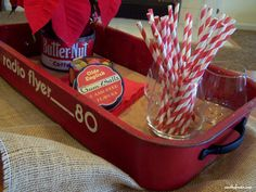 Radio flyer wagon tray, with cork liner Red Wagon Party, Home Crafts, Diy And Crafts, Kids Wagon, Radio Flyer Wagons, Fair Theme, Dream Furniture, Do It Yourself Crafts, Yard Sale