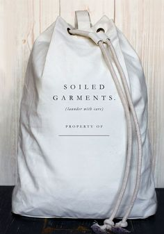 'Soiled Garments' Laundry Bag. If you want to customize a good-looking t-shirt packaging, visit www.unifiedmanufacturing.com.