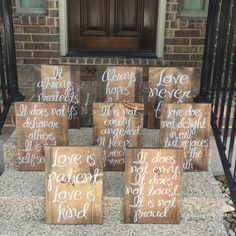 My daughters preschool teacher ordered a set of 8 ceremony aisle signs with 1 Corinthians 13 on them for her daughters wedding. They turned out amazing and I have put them in our shop! Each one measures approx. 11 1/4x23 and together they read:  Love is patient Love is kind It does not envy It does not boast It does not dishonor others It is not self-seeking It is not easily angered It keeps no record or wrongs Love does not delight in evil But rejoices with the truth It always protects…