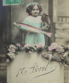 Antique French Postcard - Cute Little Girl Holding Fish (Poisson D'Avril / April 1st) by ChicEtChoc on Etsy