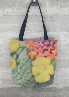 Flower Candy Tote: Lantana flowers grown in the summer are captured in this colorful tote.  Perfect all year-round.   www.andreaplacer.com