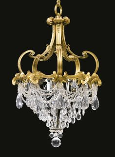 Edward F. Caldwell & Co. A Gilt Bronze and Moulded Crystal Chandelier. New York late / early century Luxury Chandelier, Iron Chandeliers, Antique Chandelier, Mini Chandelier, Antique Lamps, Vintage Lamps, Vintage Lighting, Chandelier Lighting, Luxury Lighting