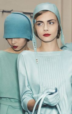 Xiao Wen Ju and Cara Delevingne backstage at Cacharel. Minty Fresh.