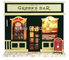 The European small bar, with lamp house, DIY handmade house , Dollhouse Miniature,DIY handmade hut kit