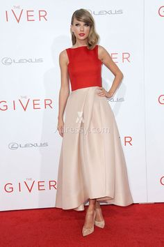 Taylor Swift Red and Champagne Tea Length Prom Dress the Giver Red Carpet