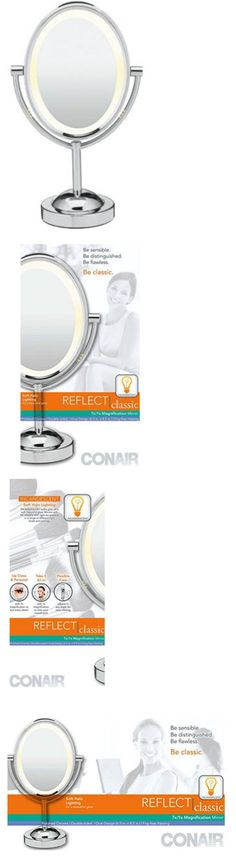 Makeup Mirrors: Conair Lighted Makeup Mirror Double Sided Led Vanity Magnifying Polished Chrome BUY IT NOW ONLY: $37.95