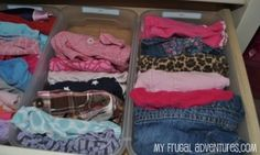 organized kids clothes likes this, put socks and under garments in little boxes like this. Also folded all shirts, pants, ect like this....drawers are staying so much more organized....no making a mess to find a certain shirt.