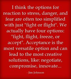 I think the options for reaction to stress, danger, and fear are often too…