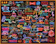 Neon Signs Jigsaw Puzzle, Collage Puzzle-White Mountain Puzzles.  1000 Piece Jigsaw Puzzle.