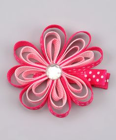 Pouty Posh: Pink Loopy Flower Clip #zulily