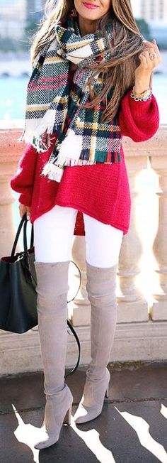 #fall #outfits / red color pop knit + oversized tartan scarf + OTK boots