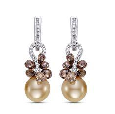 Golden South Sea Pearl, Briolette Cognac Diamonds, Diamond and 18K White Gold Earrings