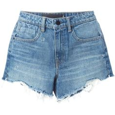 Alexander Wang destroyed denim shorts (32480 DZD) ❤ liked on Polyvore featuring shorts, bottoms, pants, denim shorts, short, blue, destroyed shorts, ripped denim shorts, short jean shorts and blue denim shorts