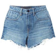 Alexander Wang destroyed denim shorts (£290) ❤ liked on Polyvore featuring shorts, bottoms, denim shorts, blue, distressed denim shorts, frayed jean shorts, blue denim shorts, ripped jean shorts and ripped shorts