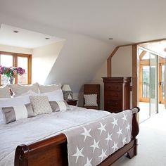 Neutral bedroom with dark-wood bed Dark Wood Bed, Dark Wood Furniture, Remodeling Mobile Homes, Home Remodeling, Mobile Home Steps, Guest Bedrooms, White Bedrooms, Master Bedroom, 25 Beautiful Homes