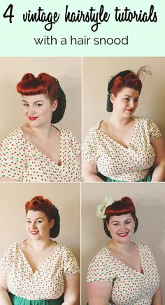 Va-Voom Vintage: 4 ways to wear a snood (More important than a snood...is the awesome Victory Rolls hairstyle tutorial. This blog seems very interesting to me as I am oddly nostalgic for an era I never existed in...)