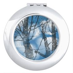 A Blue compact mirror from Zazzle! Compact Mirror, Makeup Tools, Mirrors, Trees, Blue, Tree Structure, Wood, Mirror, Glass