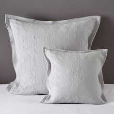Buy Vintage Etienne Bedspread & Cushion Covers - Grey - from The White Company Small Cushion Covers, Small Cushions, Bed Cushions, Cool Bedroom Furniture, Bedroom Ideas, White Pillow Cases, Cover Gray, The White Company, Linen Bedding