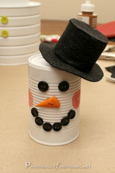 Tin Can Snowman by Practically Functional {guest tutorial} | So You Think You're CraftySo You Think You're Crafty