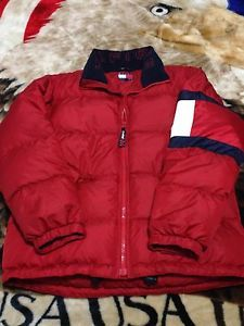 VTG 90s Mens Tommy Hilfiger Down Puffer Spell Out Big Flag Logo Jacket Small e871cdab97