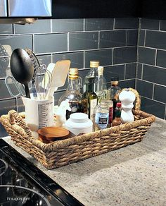 Basket with essentials by the stove